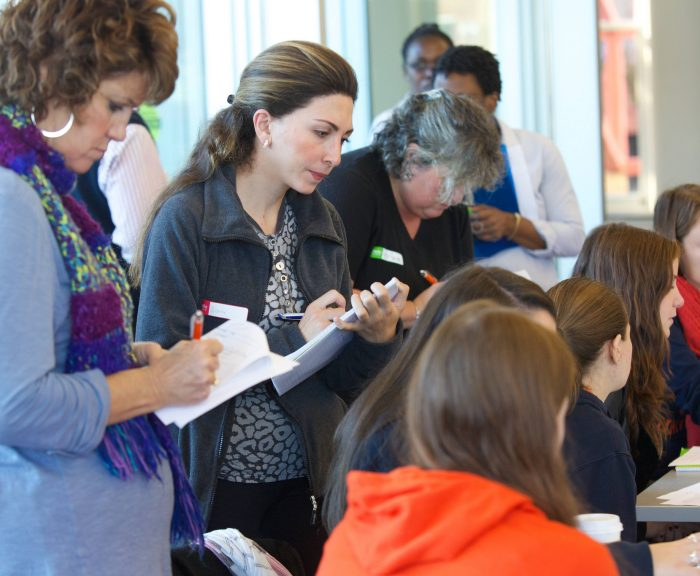 teachers observing a sample classroom lesson
