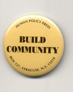 build community on yellow round button