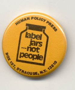 label jars not people on yellow round button